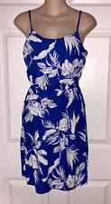Old Navy Blue Hawaiian Floral Poplin Cami Dress S