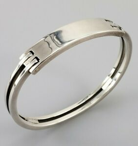 Modernist Sterling Silver Bangle Bracelet Cuff Bauhaus Arty Art Design Designer