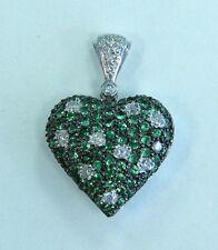 Estate Jewelry 18k White Gold Emeralds & Diamonds Puffy Heart Pendant