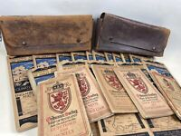Joblot Vintage Ordnance Survey Maps 1930's Leather Cases