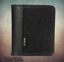 New RVCA Stockholm Mens Leather Black Bi-Fold Wallet
