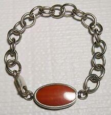 """Handmade Orange Agate Cabachon Bracelet Dbl Sided Silver Floral Filigree 7 1/2"""""""