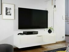 Wall Mounted Hung Floating White Gloss TV Unit Media Cabinet 1 Door 120cm Nevada