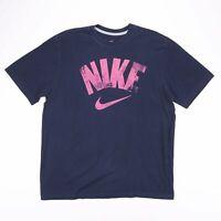 Vintage NIKE Navy Blue & Pink Big Logo Sports T-Shirts Size Men's XL