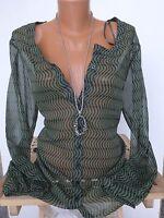 Sheego Chemisier en mousseline de soie chemise taille 40/42 - 56/58 à motif