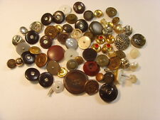 65+ vintage antique assorted glass metal faux pearl etc buttons lot fv1610