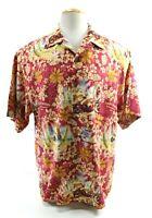 Tommy Bahama Motorcycle Santa Claus Pin Up Men's Hawaiian Shirt Size Large Silk