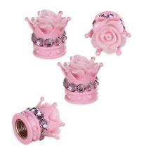 Bling Car Accessories Decoration Pink Diamond Flower Emblem Tire Valve Stem Caps