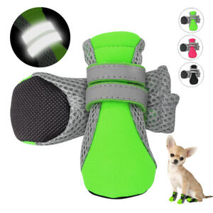 4pcs Dog Shoes Mesh Snow Rain Boots Booties Reflective Anti-slip Paw Protection