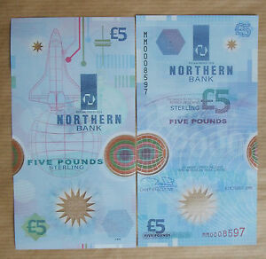 NORTHERN  BANK  £5  NOTE  POLMER, 1999, MM , UNCIRCULATED
