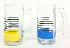 2 Vintage Libbey Glass Beer Steins Heavy Sociables Blue, Yellow & Black Stripes