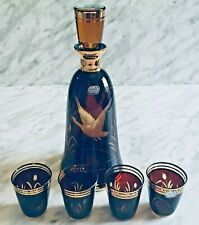 VTG Bohemia Crystal Garafe 4 Shot Glasses Liquor Cut To Clear Amber Gold Defect