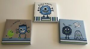 Set Of 3 Monster Wall Canvas