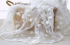 130cm Encordado bordado de Boda Tela Encaje Blanco Crudo Floral Boda ENCAJE 0.5m