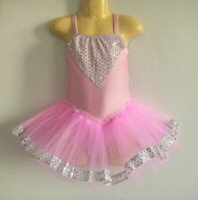 NEW Girls Ballet Sequins tutu Dance Costume - Pink S