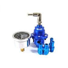 Universal Fuel Pressure Adjustable Regulator With Filled Oil Gauge Aluminum Blue
