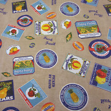Stoff Meterware Baumwolle Früchte Ananas Apfel Orange Jute Aufkleber Retro Neu