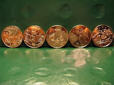Christmas Set Copper Rounds ALL 5 1 oz.999 Copper Coins Read for Types TREE Back