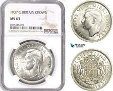 AE117, Great Britain, George VI, Crown 1937, London, Silver, NGC MS63