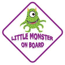 Petit Monstre à bord-Drôle de Voiture, Van, Camion, enfant, Enfants Autocollant
