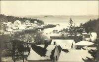 New Harbor ME Birdseye View in Winter Real Photo Postcard