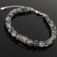 Men Women Bracelet Rutilated Quartz 925 Sterling Silver Fleur de Lis Clasp 1295