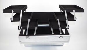 Aluminium Frame Tiered Vanity Case Makeup Hairdressing Box - Silver Leaf
