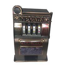 Vintage Reno Nevada Slot Machine Bank Reno Bronze Mechanical Bank Tabletop