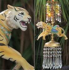 Porcelain Tiger Carousel Lamp SWAG Chandelier Vintage Purple African Jungle decr