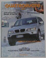 QUATTRORUOTE 2/2001 PEUGEOT 206 CC – LEXUS RX 300 – AUDI A2 TDI – BMW X5 3.0