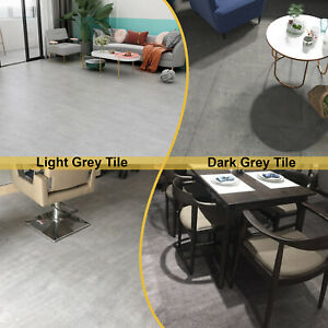 Self adhesive PVC Floor Square Tiles Light Dark Grey Marble Effect 5 m² per pack