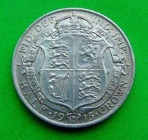 MINT  LUSTRED  WW1  EF/UNC  *1915*  SILVER  HALFCROWN  2/6 ...LUCIDO_8  COINS