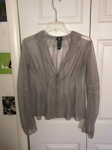 NWOT Lilith Layered Grey Mesh Collared V Neck Blouse Top Size L EUR 42