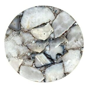 Natural Gray Agate Stone Coffee Side Table Top Handmade Art Home Décor Interior