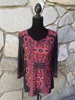 MADISON Tunic Top Size M Medium Black Pink Paisley Rhinestone Embellished