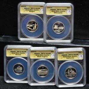 2005-S 25c Silver Proof 5 pc Quarter Set PR70 DCAM ANACS Not Junk Silver!!!