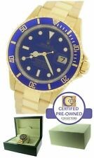 Rolex Submariner Date 16618 18K Yellow Gold Blue 40mm Dive Oyster Watch 16808