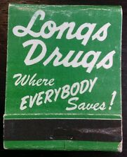Vintage Longs Drugs California And Hawaii Front Strike Matchbook