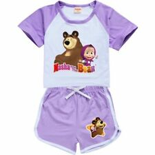 Masha and the Bear Kids Boys Girls Summer T-shirts Tops pants Suit Birthday Gift