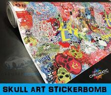 Sticker Bomb Wrapping Vinyl 1.52 x 1.5m - Skull Art - Car & Bike Wrap Film Foile