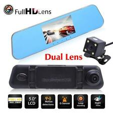"5.0"" HD 1080P Dual Lens Car DVR Rear View Mirror Dash Cam Video Camera G-Sensor"