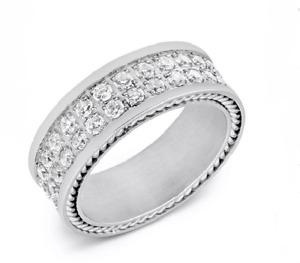Brilliant Cut Cubic Zirconia Band In 925 Silver Men's Fashion Elegant Ring
