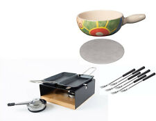 "Fondue Set Rechaud MultiFun, Caquelon ""Color"" 23cm, Wärmeverteilplatte, 6 Gabeln"