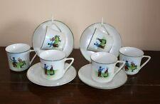 Bohemian Cups & Saucers - Dutch Couple Design - Deco Era c.1920's