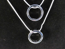 Modern Statement Piece Silver Plated Double Ring Necklace with Free Gift Bag