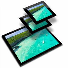 Glass Placemat  & 2x Coaster  - Zanzibar Tanzania Beach Paradise  #16981