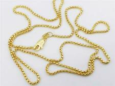 """14K Yellow Gold Round Box Link Necklace Pendant Chain 20"""" 1.35mm 14K Gold"""