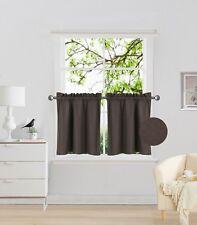 "2PC Rod Pocket Short Window Treatment Curtain Insulated Blackout Set 30""x24"" R16"