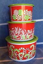 Tupperware CANDY CANE STACKING CHRISTMAS HOLIDAY CANISTER SET ~3 Pcs~ BRAND NEW!