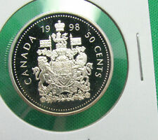 1998 50 cents Canada silver proof lightly toning